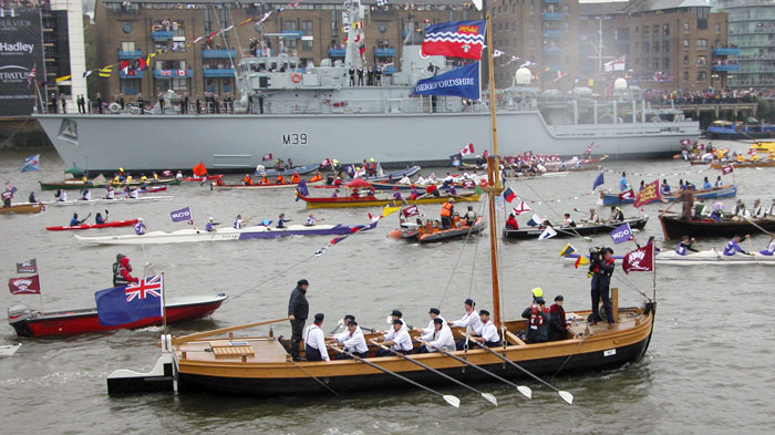 New build. The Hereford Bull taking part in the Diamond Jubilee River Pageant